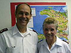 Major Ron Busroe (left), HRD Director, and Major Rosemarie Häfeli (right).